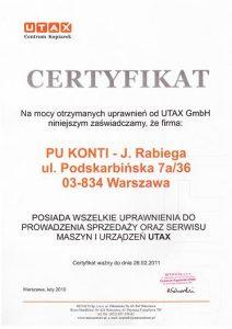 Certyfikat UTAX 2010_11