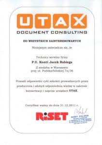 Certyfikat UTAX 2011