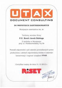 Certyfikat UTAX 2012