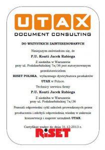 Certyfikat UTAX 2013