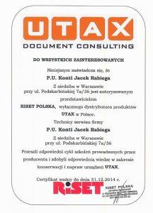 Certyfikat UTAX 2014