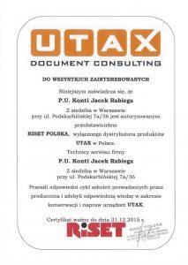 Certyfikat UTAX 2015