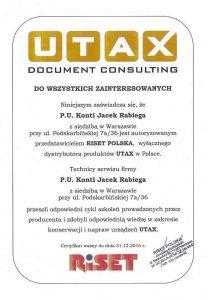Certyfikat UTAX 2016