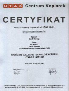 Certyfikat UTAX_CD1025