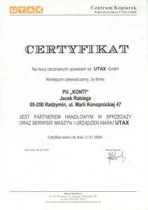 Ceryfikat UTAX 2006