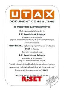 Certyfikat UTAX 2019