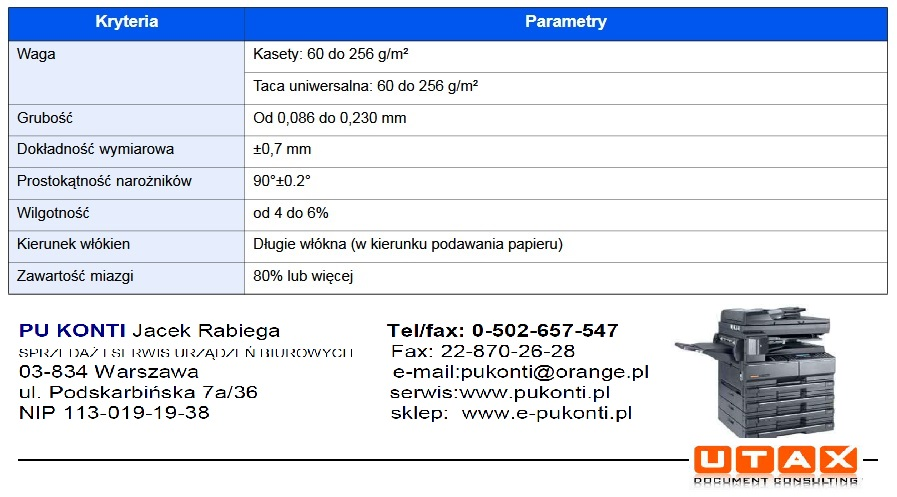 Parametry papieru do drukarki i kserokopiarki laserowej. Kyocera, Ricoh, UTAX