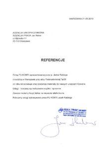 Referencje od Agencja PRAGA Jan Haber