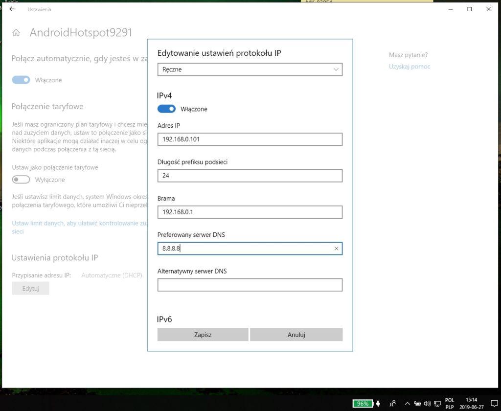 Ustawienie statycznego adresu IP dla wybranej sieci WiFi