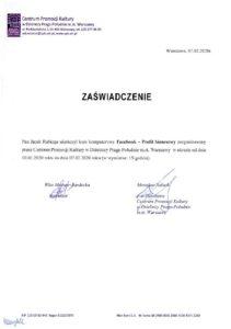 Certyfikat FACEBOOK BIZNESOWY 2020