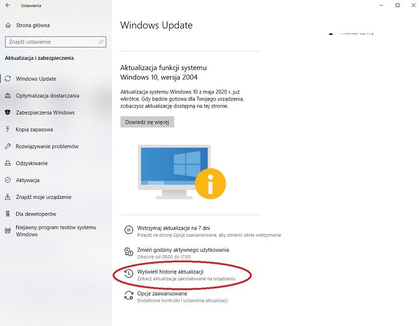 WINDOWS 10 ustawienia-historia aktualizacji